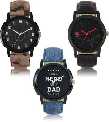 Maan International Combo3-LR-03-07-08 New Stylish Leather Strap Watch  - For Men   Watches  (Maan International)