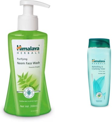 Himalaya neem face wash, refreshing and clarifying toner(Set of 2)