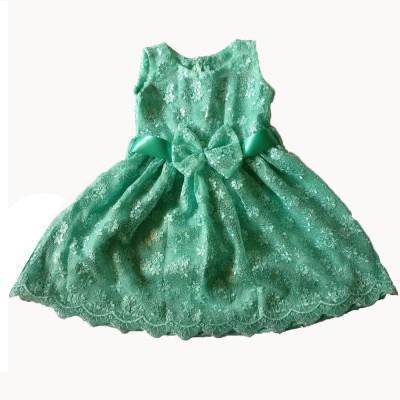 PeachCherry Girls Midi/Knee Length Party Dress(Green, Sleeveless)