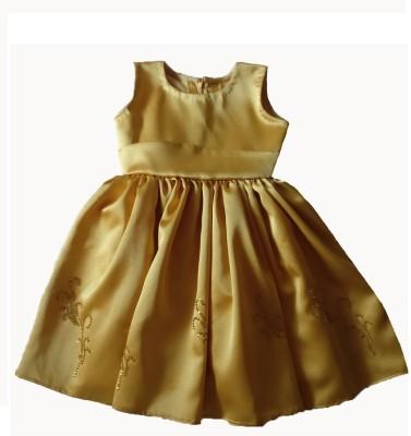 PeachCherry Girls Midi/Knee Length Party Dress(Gold, Sleeveless)