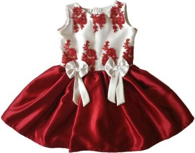 PeachCherry Girls Midi/Knee Length Party Dress(White, Sleeveless)