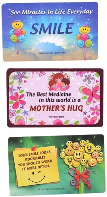 The Values Store Pack of Everyday Good Quotes Fridge Magnet, Multipurpose Office Magnets Pack of 3 Multicolor