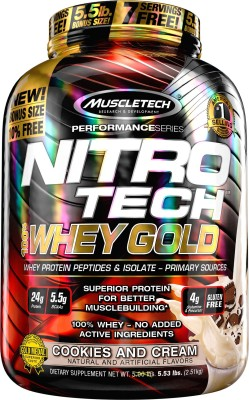 Muscletech Performance Series Nitrotech 100% Whey Gold Whey Protein(2.51 kg, Cookies & Cream)