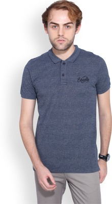Ruggers Solid Men's Polo Neck Blue T-Shirt