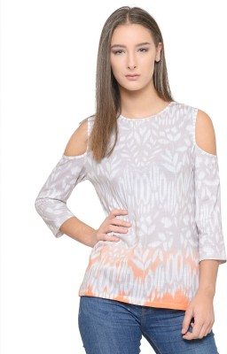 Tunic Nation Party 3/4 Sleeve Printed Women White Top