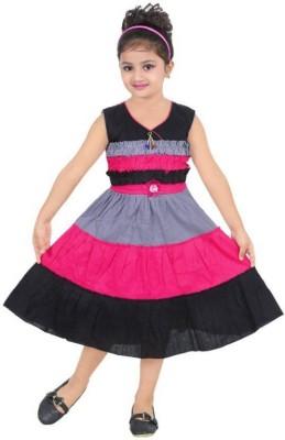 Singham Girls Midi/Knee Length Casual Dress(Multicolor, Sleeveless)