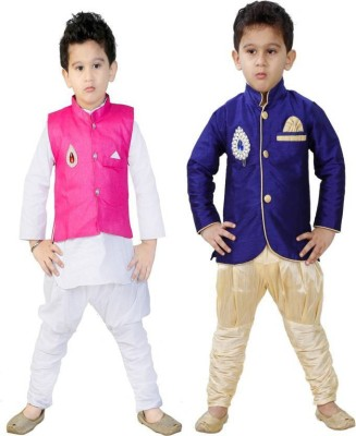 ed6ccbe611 56% OFF on Jio Kids Boys Festive & Party Kurta, Waistcoat and Pyjama Set(Multicolor  Pack of 2) on Flipkart | PaisaWapas.com