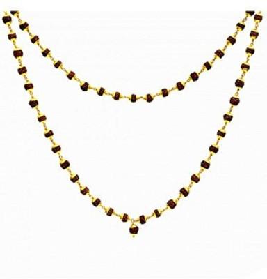 Condifence Rudraksha Mala for Men and Women + Free 5 Mukhi 1 Rudraksh Bead Wood Chain