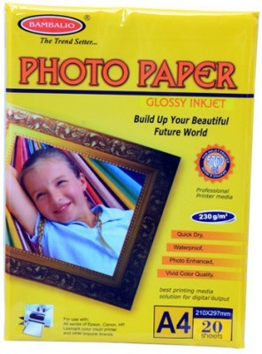 Bambalio Glossy 230 Gsm 40 Sheets unruled Glossy Photo Paper A4 Photo Paper(Set of 2, White)