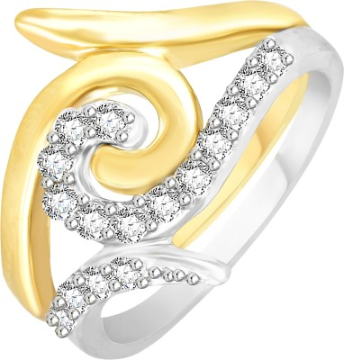 VK Jewels One Love Alloy Cubic Zirconia 18K Yellow Gold Plated Ring