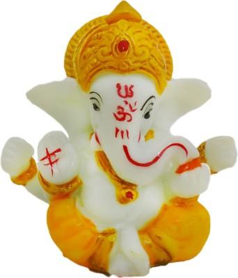 Ratnatraya God Ganesh Ji Small Idol Car Dashboard | Pooja Room Decor Gift Items Showpiece  -  8 cm(Polyresin, Yellow, White)  available at flipkart for Rs.324