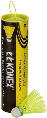 Konex Power Badminton Nylon Shuttle Cl-3 (Pack of 6) Nylon Shuttle  - Green(Medium, 77, Pack of 6)