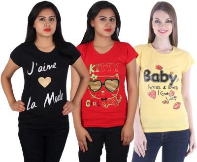 FASHA Casual Half Sleeve Printed Women Black, Red, Yellow Top