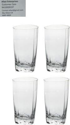 Somil Somil Stylish & Self Designer Multipurpose Clear Glass Set Of 4 Glass Set(Glass, 310 ml, Clear, Pack of 4) at flipkart