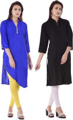 DUENITE Casual Solid Women Kurti(Pack of 2, Blue, Black)