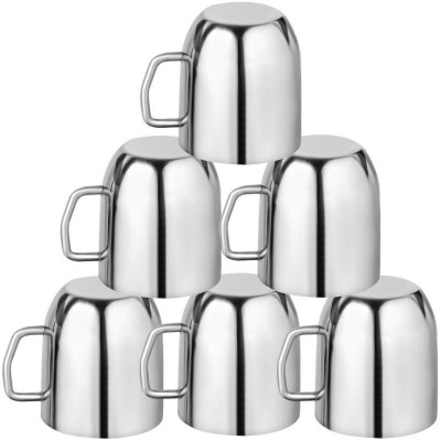 KItchen Delli Stainless Steel Apple Shaped Coffee Mug Set Of 6 Stainless Steel(Silver, Pack of 6)  available at flipkart for Rs.750