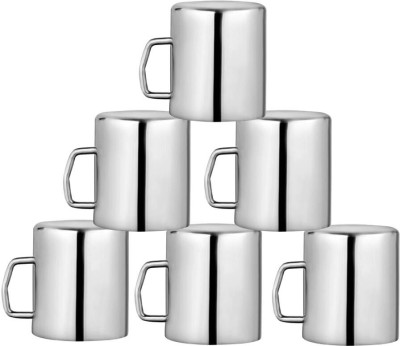 Kitchen Delli Stainless Steel SOBER Shaped Coffee Mug Set Of 6 Stainless Steel(Silver, Pack of 6)  available at flipkart for Rs.700
