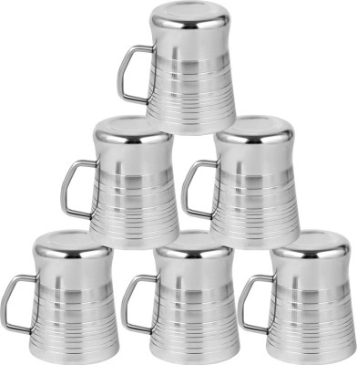 Kitchen Delli Stainless Steel Milano Shaped Coffee Mug Set Of 6 Stainless Steel(Silver, Pack of 6)  available at flipkart for Rs.650