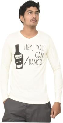 JG FORCEMAN Printed Men V-neck Beige T-Shirt