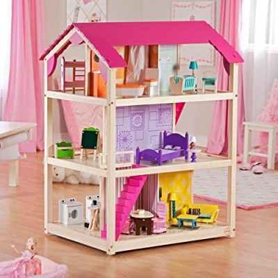 Allstar Dollhouse So Chic Furniture 45 Pieces House Doll New Wooden Girls Play Brand Mansion Set Barbie Kids Fashion Accommodates Dolls(Multicolor)