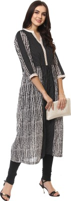 La Firangi Women Striped Straight Kurta(Black)