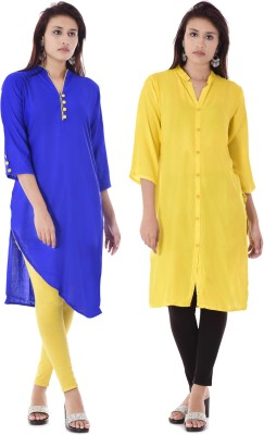 DUENITE Casual Solid Women Kurti(Pack of 2, Blue, Yellow)