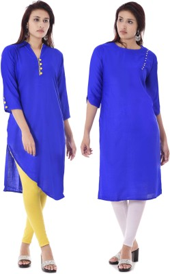 TRUEBELLE Casual Solid Women Kurti(Pack of 2, Blue, Pink)