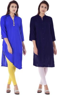 DUENITE Casual Solid Women Kurti(Pack of 2, Blue)