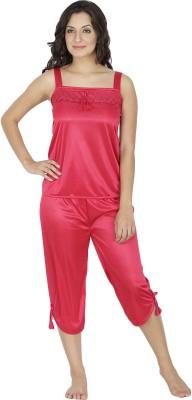 Klamotten Women Solid Red Top & Capri Set