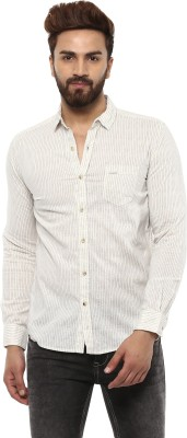 Mufti Men Striped Casual Beige, Blue Shirt  available at flipkart for Rs.2099