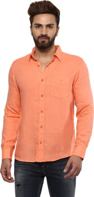 Mufti Men Solid Casual Orange Shirt at flipkart