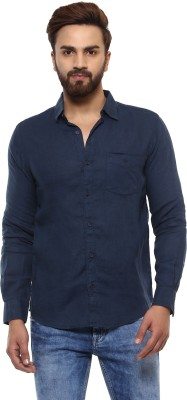 Mufti Men Solid Casual Dark Blue Shirt at flipkart