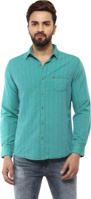 Mufti Men Striped Casual Green Shirt  available at flipkart for Rs.2099