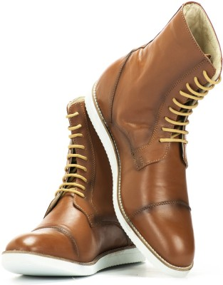 Elevato Elevato height increasing Shoes - Classic Tan Light weight Long Boot Boots For Men(Tan)  available at flipkart for Rs.3999