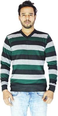 DEPLO Striped V-neck Casual Men's Green, Black Sweater