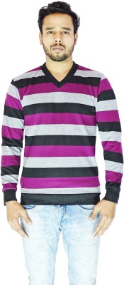DEPLO Striped V-neck Casual Men's Purple, Black Sweater