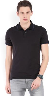 BlackBuck Solid Men Polo Neck Black T-Shirt