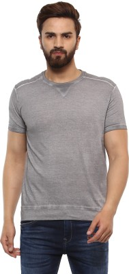 Mufti Solid Men Round or Crew Grey T-Shirt at flipkart
