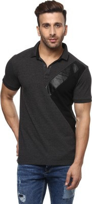 Mufti Solid Men Polo Neck Grey T-Shirt at flipkart