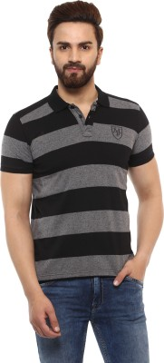 Mufti Striped Men Polo Neck Black, Grey T-Shirt at flipkart