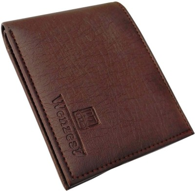 Wenzest Men Brown Artificial Leather Wallet 10 Card Slots