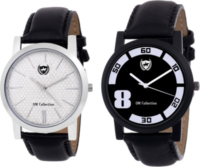 Om collection Watch Combo for Mens/Boys Beautiful Black and Silver case with White and Black Dail with Leather Strap | Party Wedding | Casual Watch | Formal Watch | Sport Watch | Fashion Wrist Watch For Boys and Men 2 Pcs-omwt48(Set of 2) Watch  - For Men   Watches  (OM Collection)