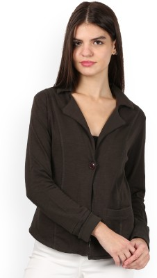 U.S. Polo Assn Solid Single Breasted Casual Women Blazer(Brown) at flipkart