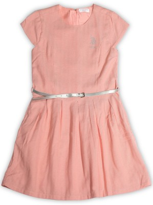 US Polo Kids Girls Midi/Knee Length Casual Dress(Pink, Half Sleeve)