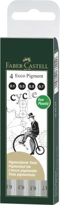 Faber-Castell Fibre-Tip Pen Ecco Pigment 0.1/0.3/0.5/0.7 - Wallet(Set of 4, Black) 1