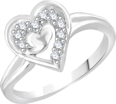 VK Jewels Divine Love Dual Heart Shape Alloy Cubic Zirconia Gold-plated Plated Ring