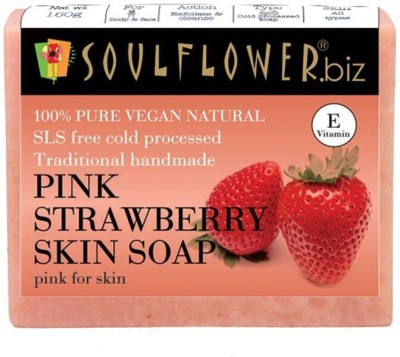 Soulflower Pink Strawberry Skin soap(150 g)