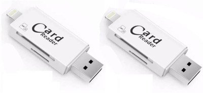 FKU Set of 2 3 IN 1 With Lightning + USB + Mobile Flash Drive Card Reader(White)
