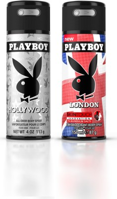 Playboy Holly + Landon Deodorant Spray  -  For Men(300 ml, Pack of 2)  available at flipkart for Rs.398