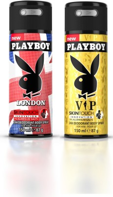 Playboy Landon + Vip Deodorant Spray  -  For Men(300 ml, Pack of 2)  available at flipkart for Rs.398